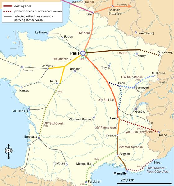 TGV Map France Travel Guide