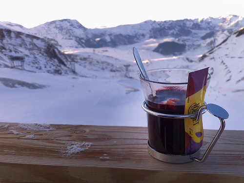 and in cozy cabins in the Alps, Vin Chaud, or French mulled wine ...