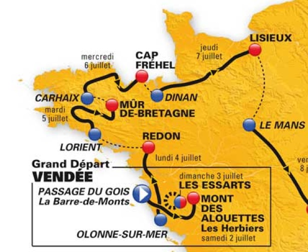 tour de france route 2011. 2011 Tour de France Route Map
