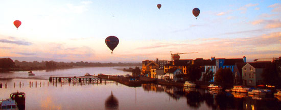 Hot air balloons in Athlone over the Shannon River near Sean's Bar