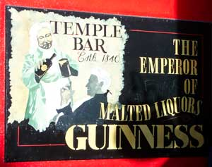 Sign for the Temple Bar in Dublin's Temple Bar neighbourhood