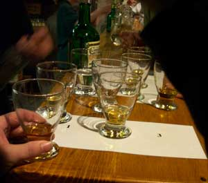 tasting glasses at locke's distillery in kilbeggan
