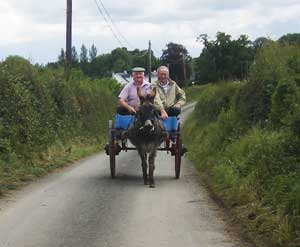 irish men in a jaunting car going to the athlone agri festival