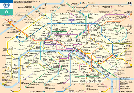 Here's a small version of the Paris Metro map (to download one you can