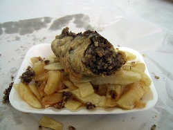 Deep fried haggis supper